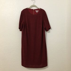 London Times Collection Burgundy Textured Dress
